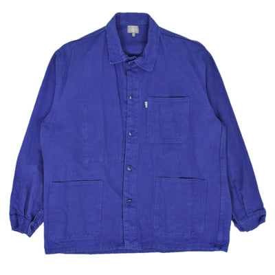Vintage Bright Blue French Worker Sanforized Cotton Twill Chore Jacket M / L front