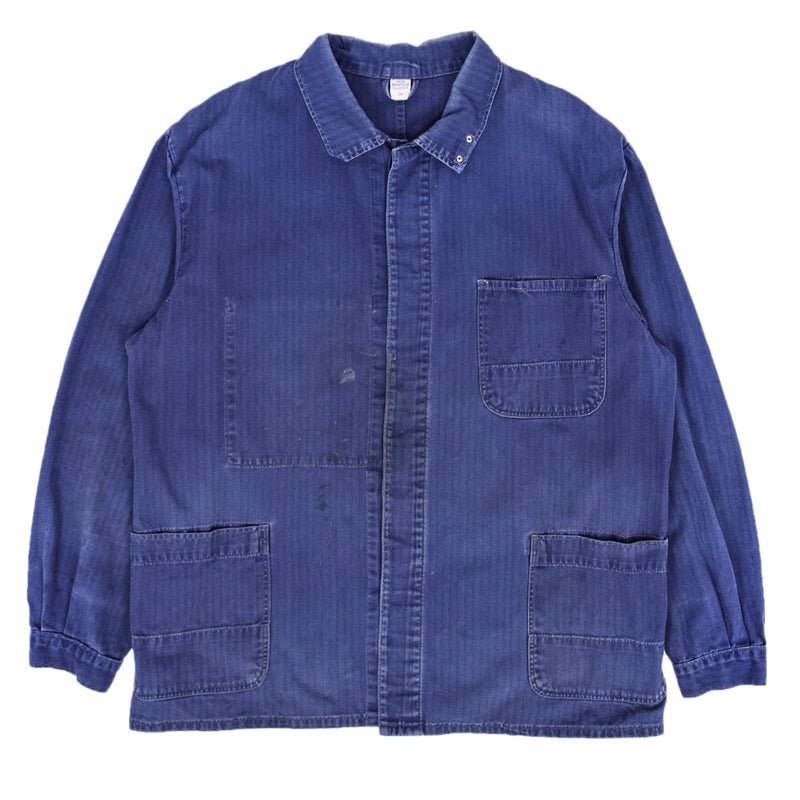 Vintage Distressed Blue French Style Worker Herringbone Chore Jacket XL FRONT