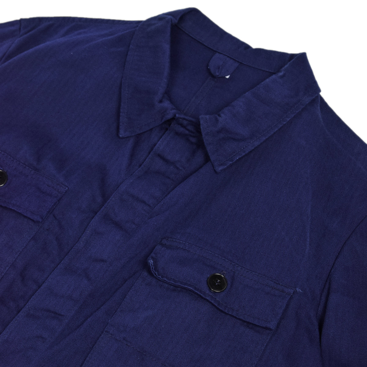 Vintage Blue French Style Worker Sanforized Herringbone Chore Shirt Jacket L collar