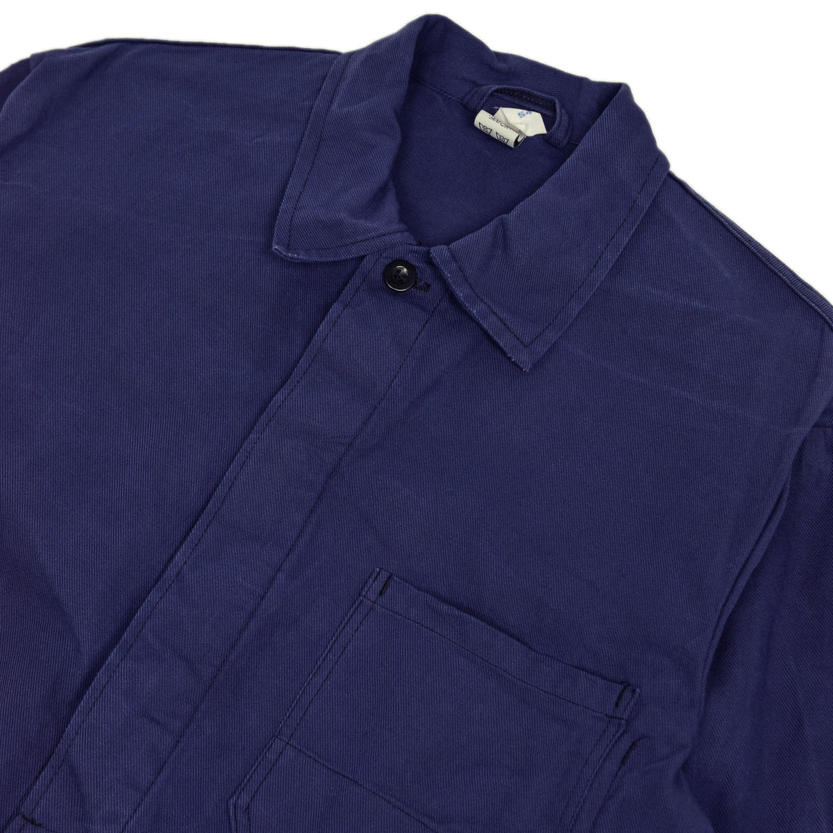 Vintage Blue French Style Worker Sanforized Cotton Twill Chore Jacket L collar