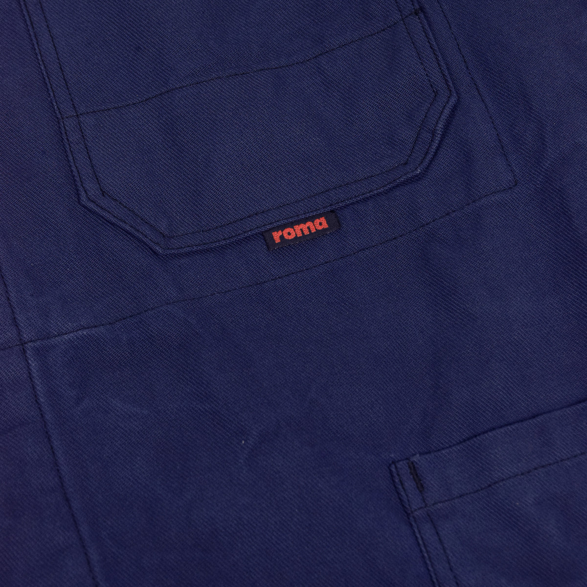 Vintage Blue French Style Worker Sanforized Cotton Twill Chore Jacket L label