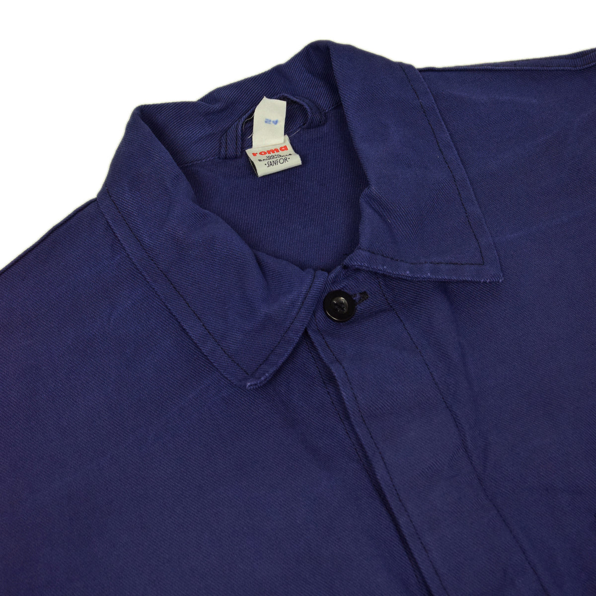 Vintage Blue French Style Worker Sanforized Cotton Twill Chore Jacket L collar detail