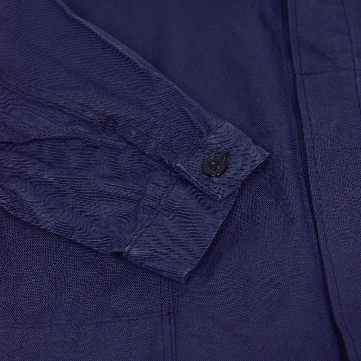 Vintage Blue French Style Worker Sanforized Cotton Twill Chore Jacket L cuff