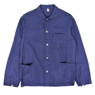 Vintage Blue French Style Worker Sanforized Herringbone Chore Jacket S / M front