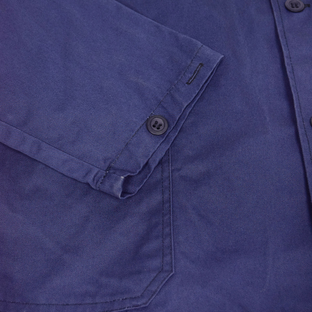 Vintage Purple Blue French Style Worker Sanforized Cotton Twill Chore Jacket L