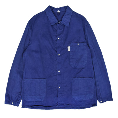 Vintage Indigo Blue French Style Worker Sanforized Herringbone Chore Jacket L front