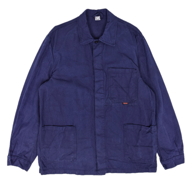 Vintage Indigo Blue French Style Worker Sanforized Cotton Chore Jacket M / L front