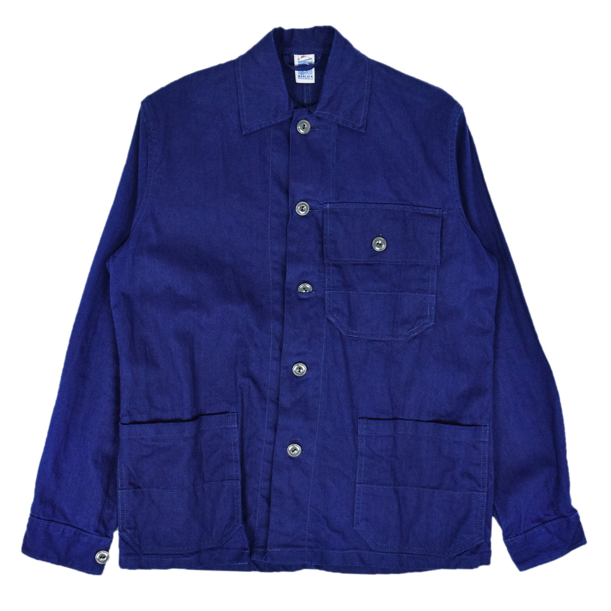 Vintage Indigo Blue French Style Worker Sanforized Herringbone Chore Jacket S FRONT