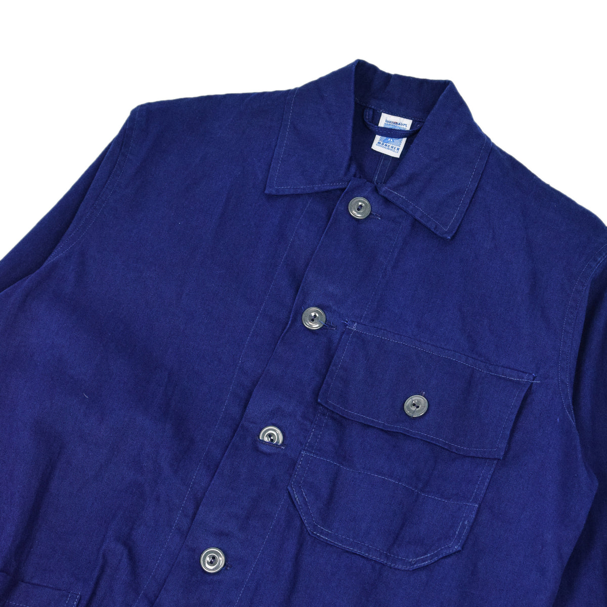 Vintage Indigo Blue French Style Worker Sanforized Herringbone Chore Jacket S chest