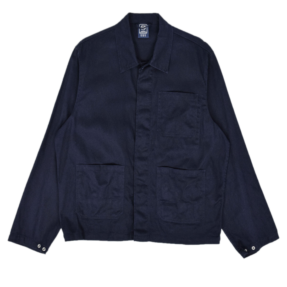 Vintage Navy Blue French Style Worker Sanforized Cotton Chore Jacket L / XL front