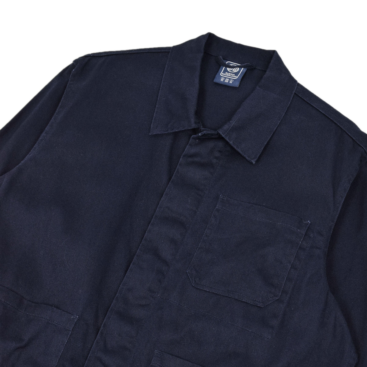 Vintage Navy Blue French Style Worker Sanforized Cotton Chore Jacket L / XL chest