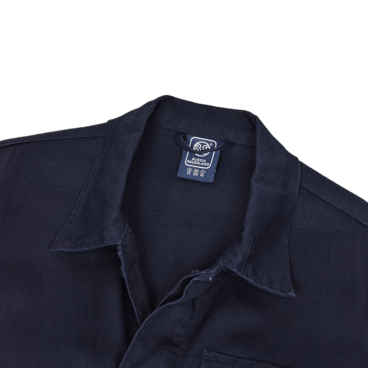 Vintage Navy Blue French Style Worker Sanforized Cotton Chore Jacket L / XL collar