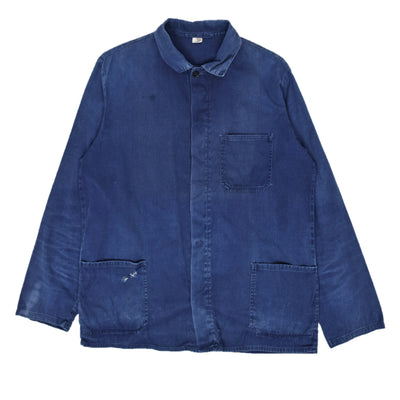 Vintage Distressed Blue French Style Sanforized Cotton Worker Chore Jacket S / M front