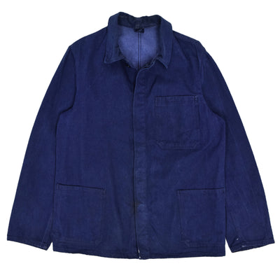 Vintage Indigo Blue French Style Denim Cotton Worker Chore Jacket M front