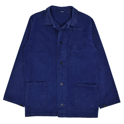 Vintage Indigo Blue French Style Herringbone Cotton Worker Chore Jacket XL front
