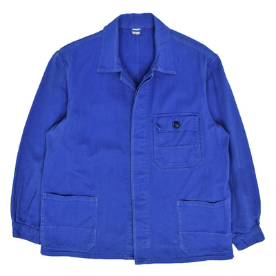 Vintage Bright Blue French Style Worker Sanforized Cotton Twill Chore Jacket M front