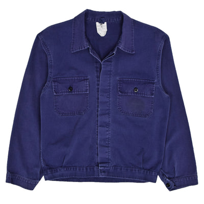 Vintage Purple Blue French Style Worker Sanforized Cotton Chore Jacket S / M front