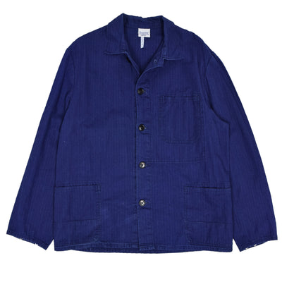 Vintage Indigo Blue French Style Herringbone Cotton Worker Chore Jacket L front