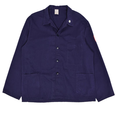 Vintage Purple Blue French Style Worker Sanforized Cotton Chore Jacket XXL FRONT
