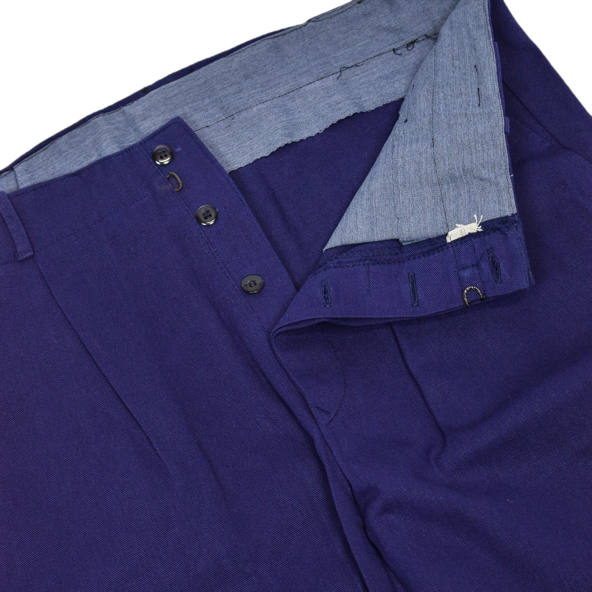 Vintage Workwear Blue French Style Work Utility Trousers Italy Made 36 W 28 L hem