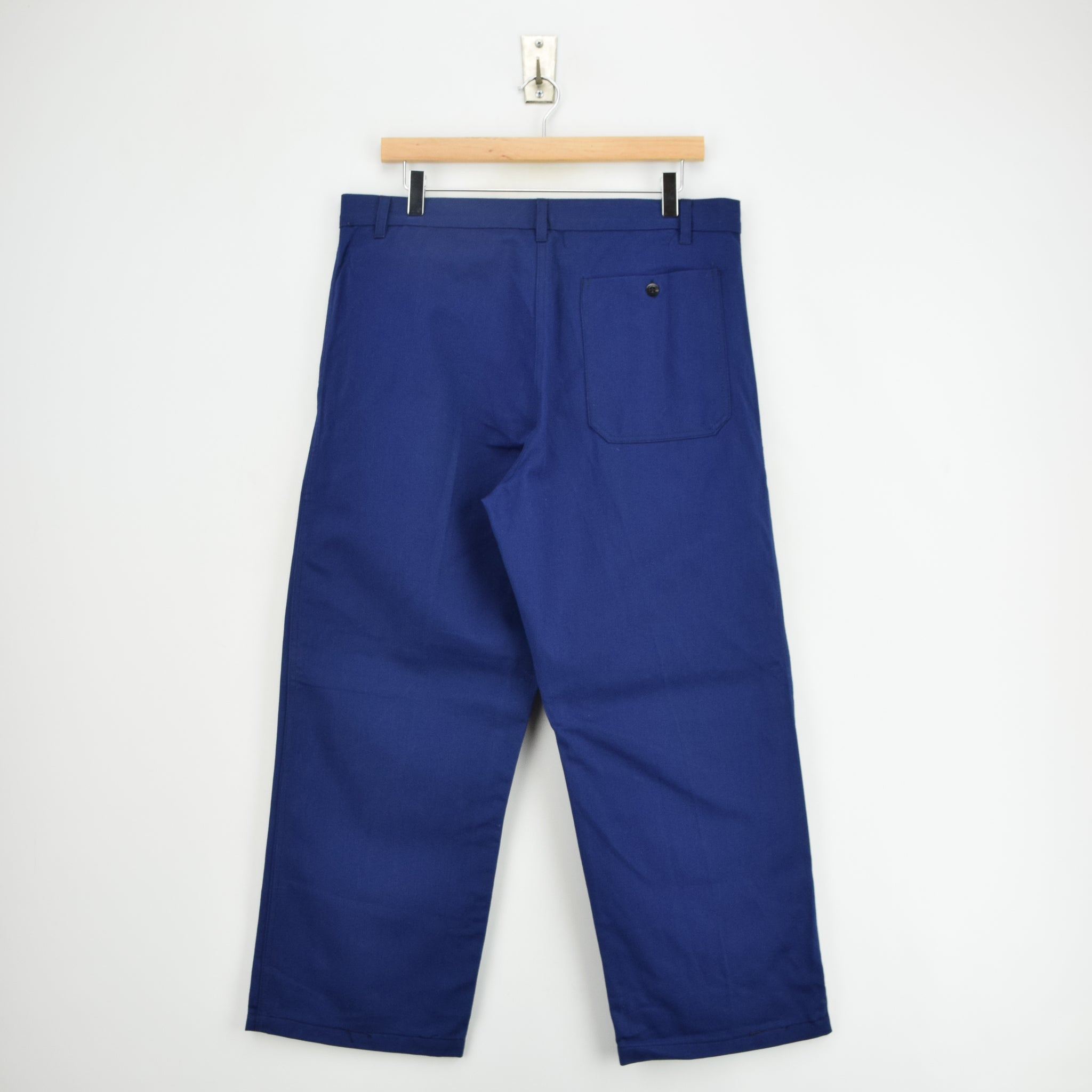 Vintage Workwear Blue French Style Work Utility Trousers Italy Made 32 W 25 L back