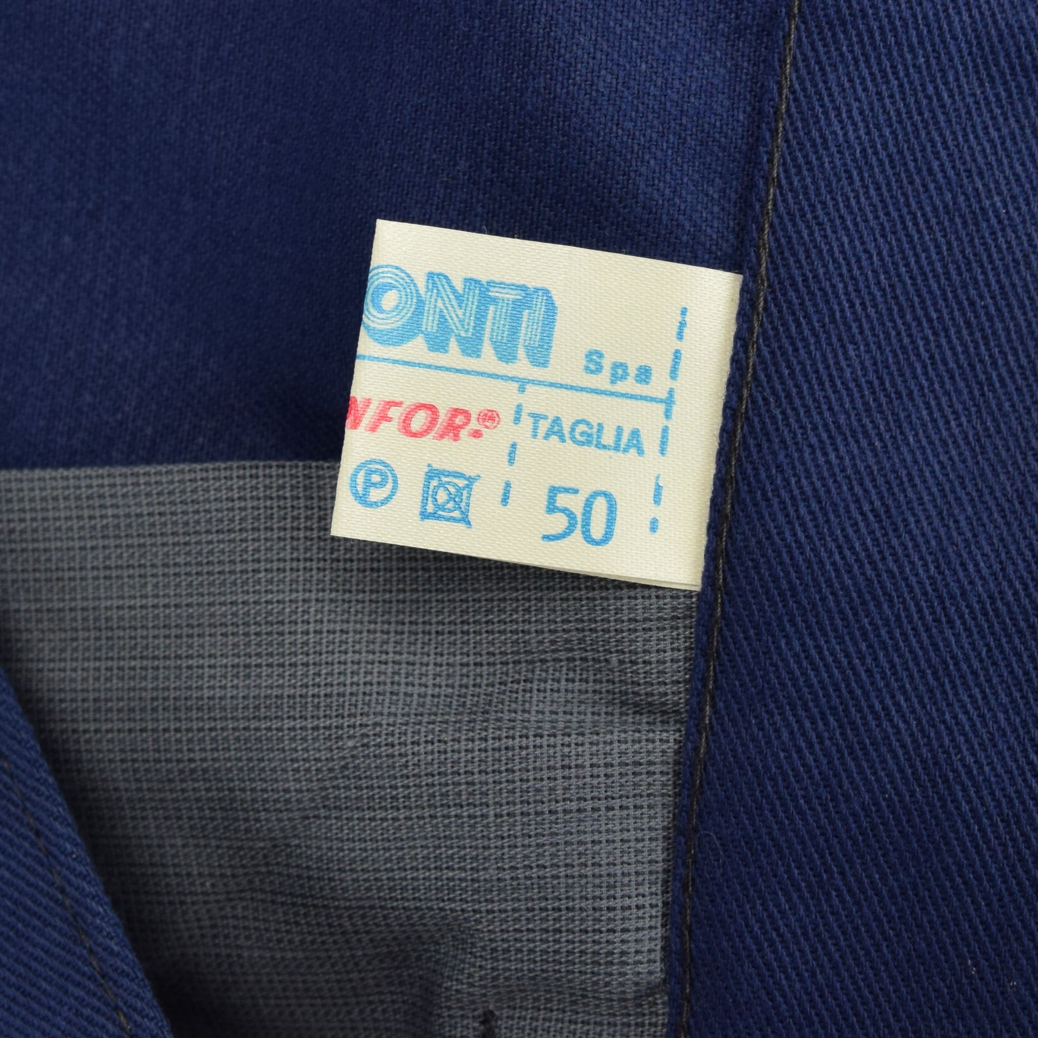 Vintage Workwear Blue French Style Work Utility Trousers Italy Made 32 W 25 L label