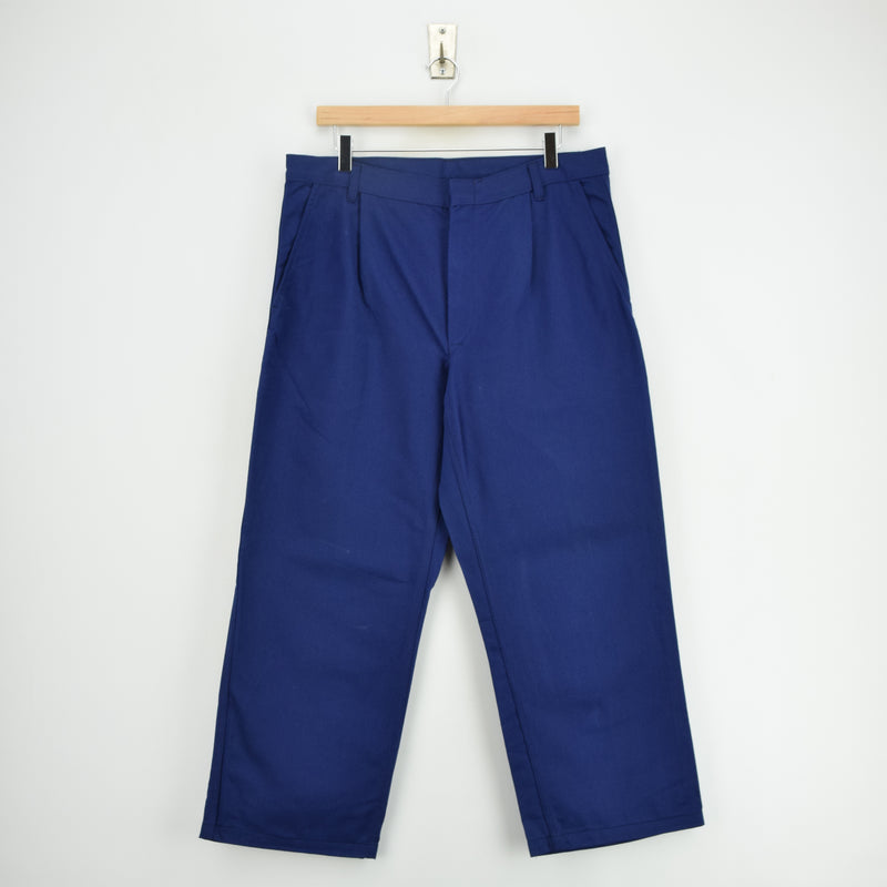 Vintage Workwear Blue French Style Work Utility Trousers Italy Made 32 W 25 L front