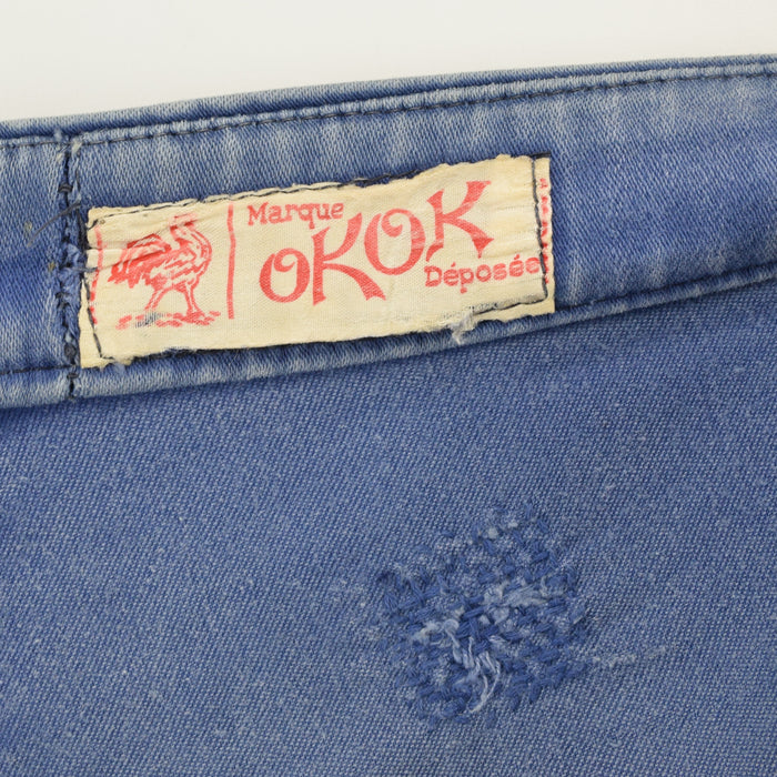 Vintage Workwear Distressed Blue French Work Trousers Made in France 34 W 27 L label