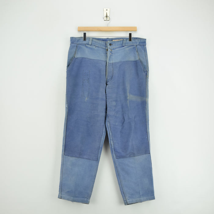 Vintage Workwear Distressed Blue French Work Trousers Made in France 34 W 27 L front
