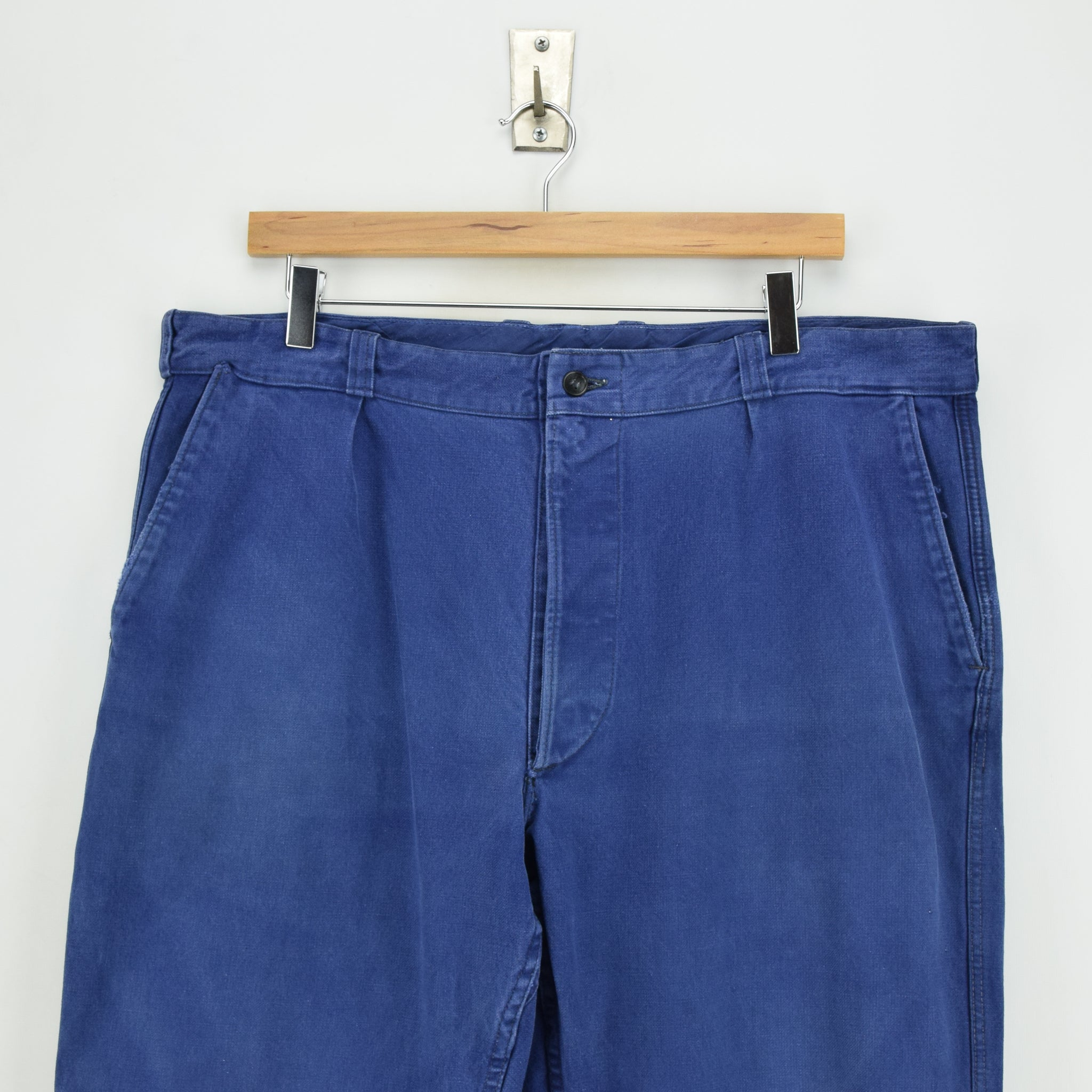 Vintage Workwear Blue Vetra French Work Utility Trousers France Made 36 W 28 L front waist