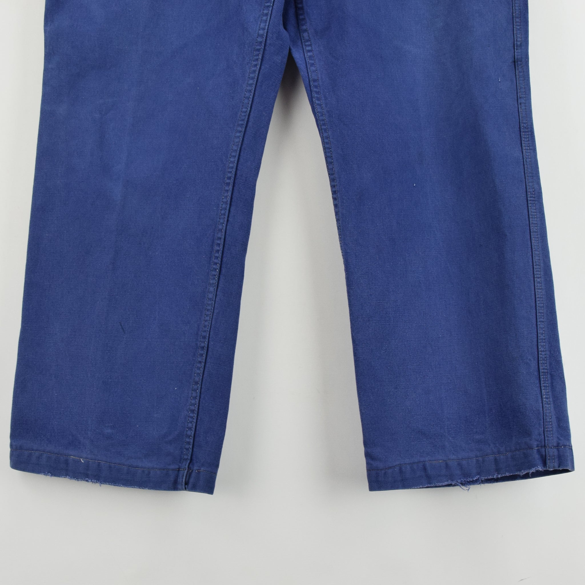 Vintage Workwear Blue Vetra French Work Utility Trousers France Made 36 W 28 L front hem