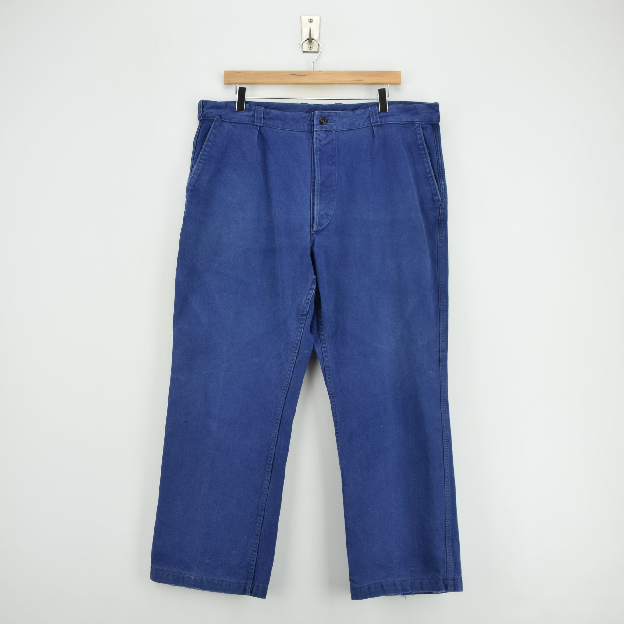 Vintage Workwear Blue Vetra French Work Utility Trousers France Made 36 W 28 L front