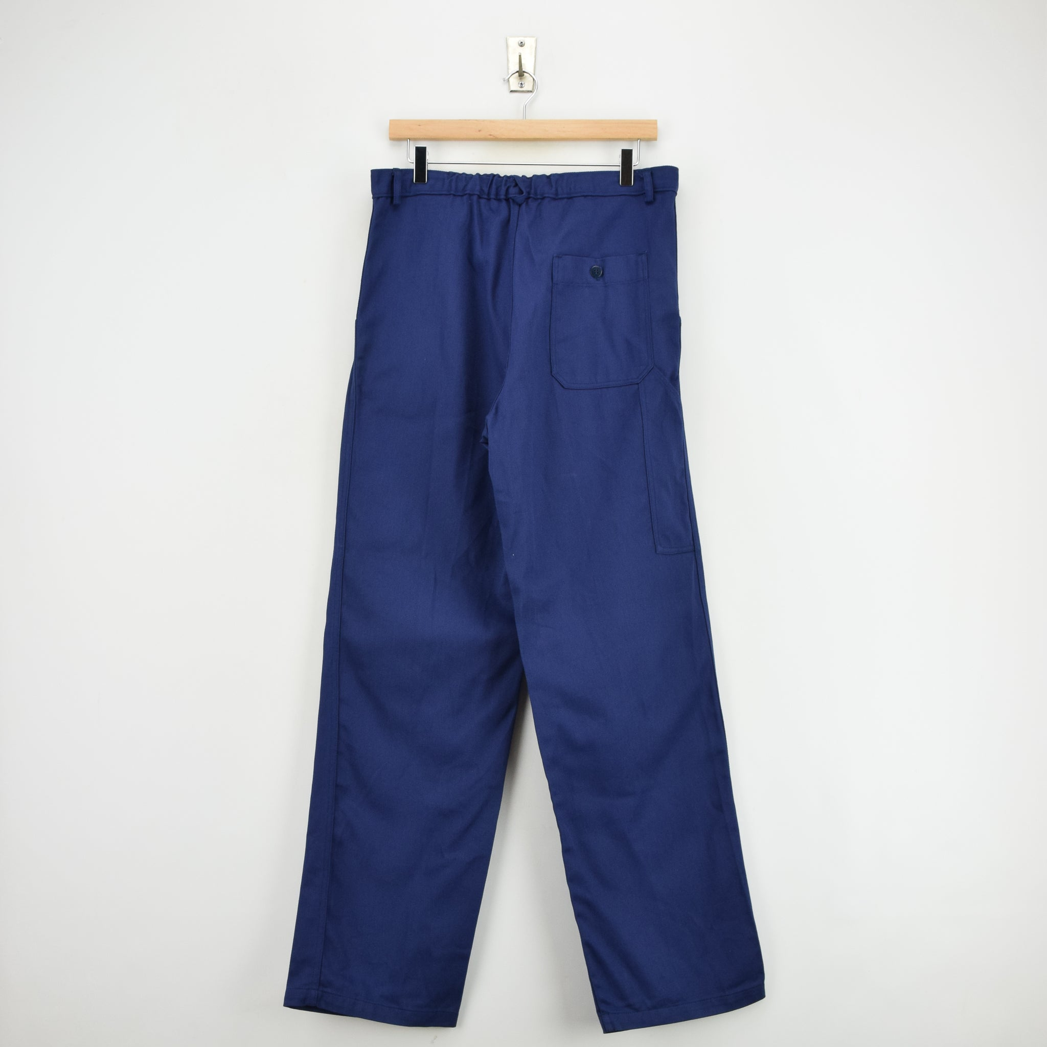 Vintage Workwear Deadstock Blue French Style Work Utility Trousers 32 W 32 L back