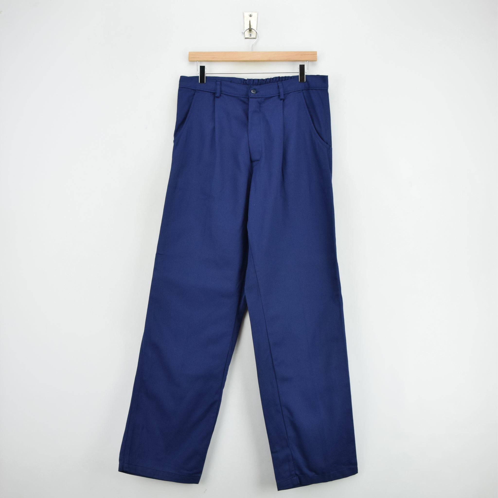 Vintage Workwear Deadstock Blue French Style Work Utility Trousers 32 W 32 L front