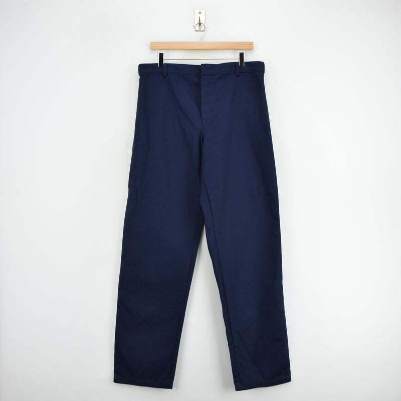Vintage Deadstock Blue French Style Work Utility Trousers Italy Made 34 W 34 L front