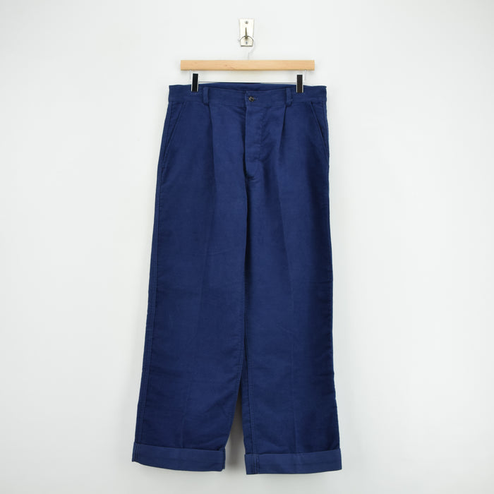 Vintage Workwear Blue French Work Utility Moleskin Trousers 30 W 28 L front