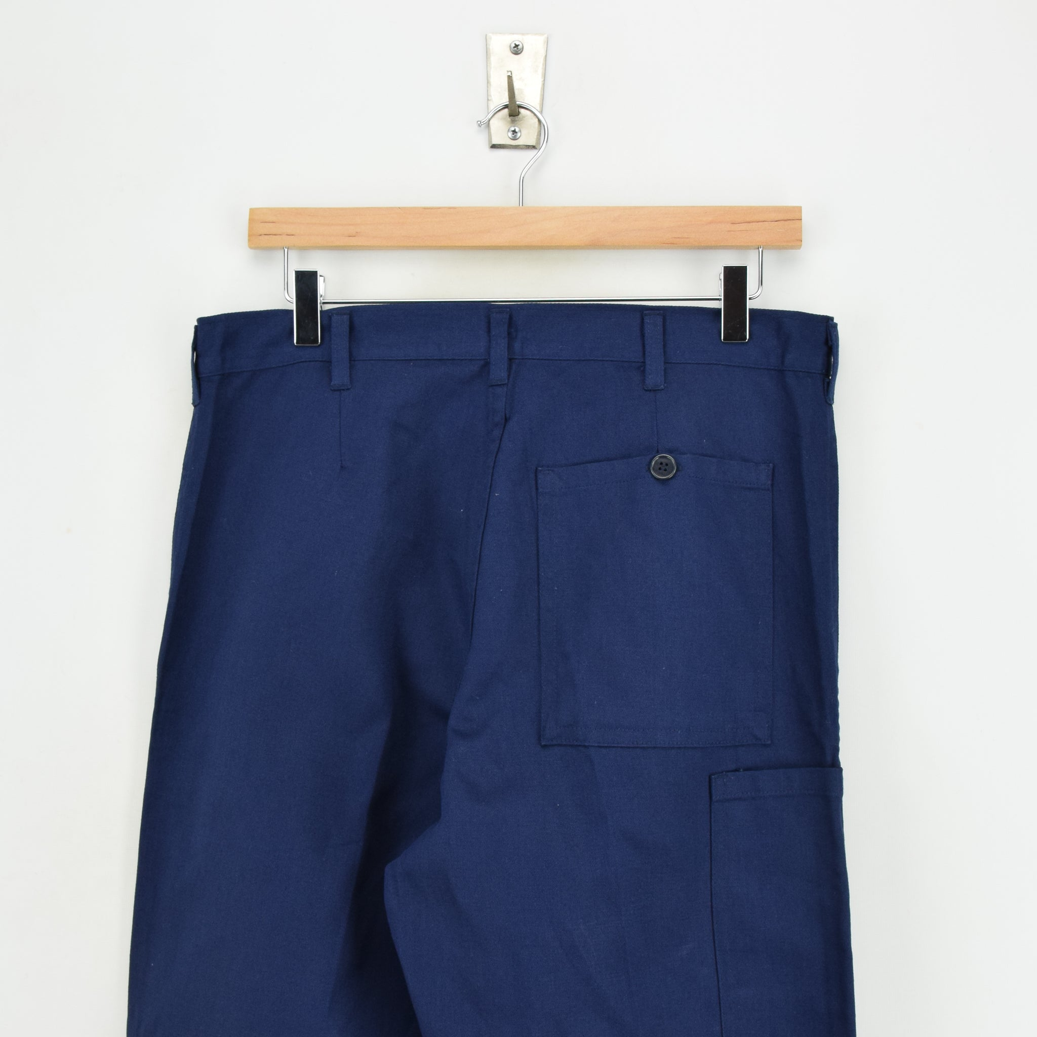 Vintage Deadstock Blue French Style Work Utility Trousers Italy Made 30 W 28 L back waist