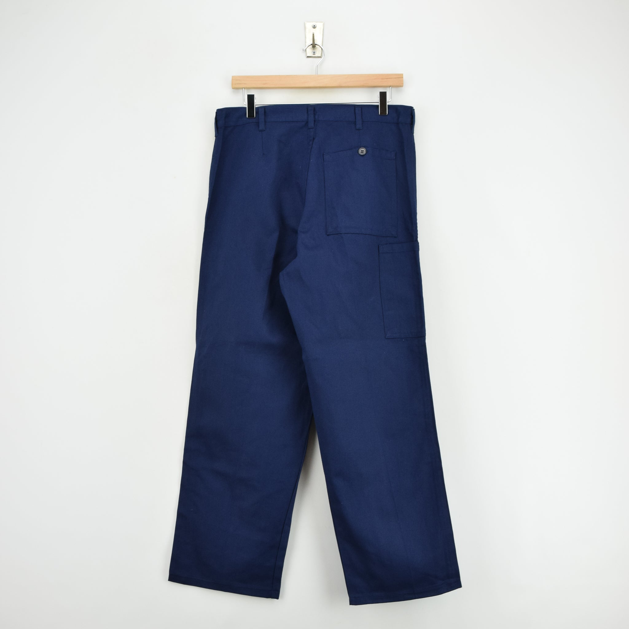 Vintage Deadstock Blue French Style Work Utility Trousers Italy Made 30 W 28 L back