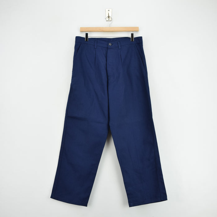 Vintage Deadstock Blue French Style Work Utility Trousers Italy Made 30 W 28 L front