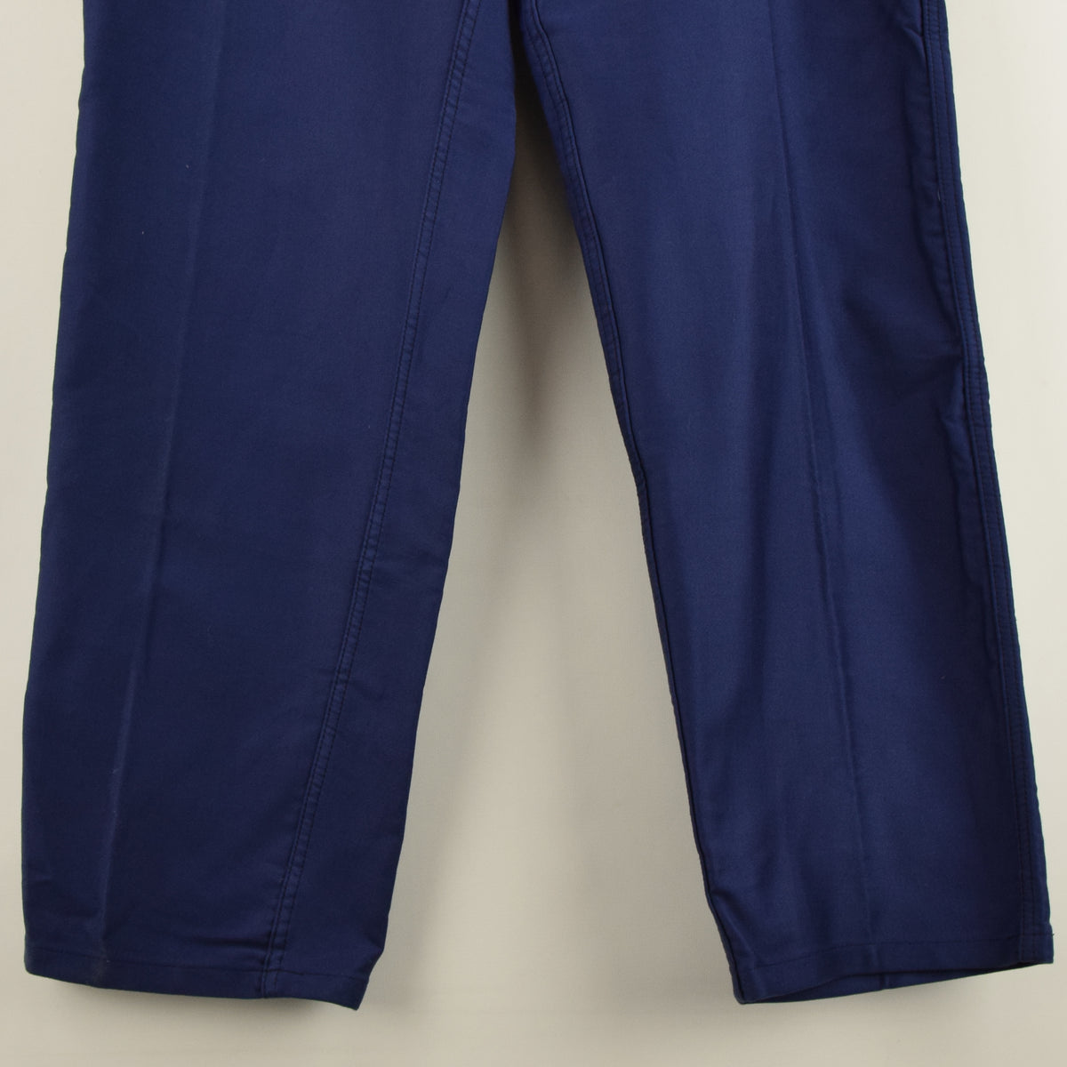 Vintage Adolphe Lafont Workwear Blue French Work Trousers 38 W 32 L front hem