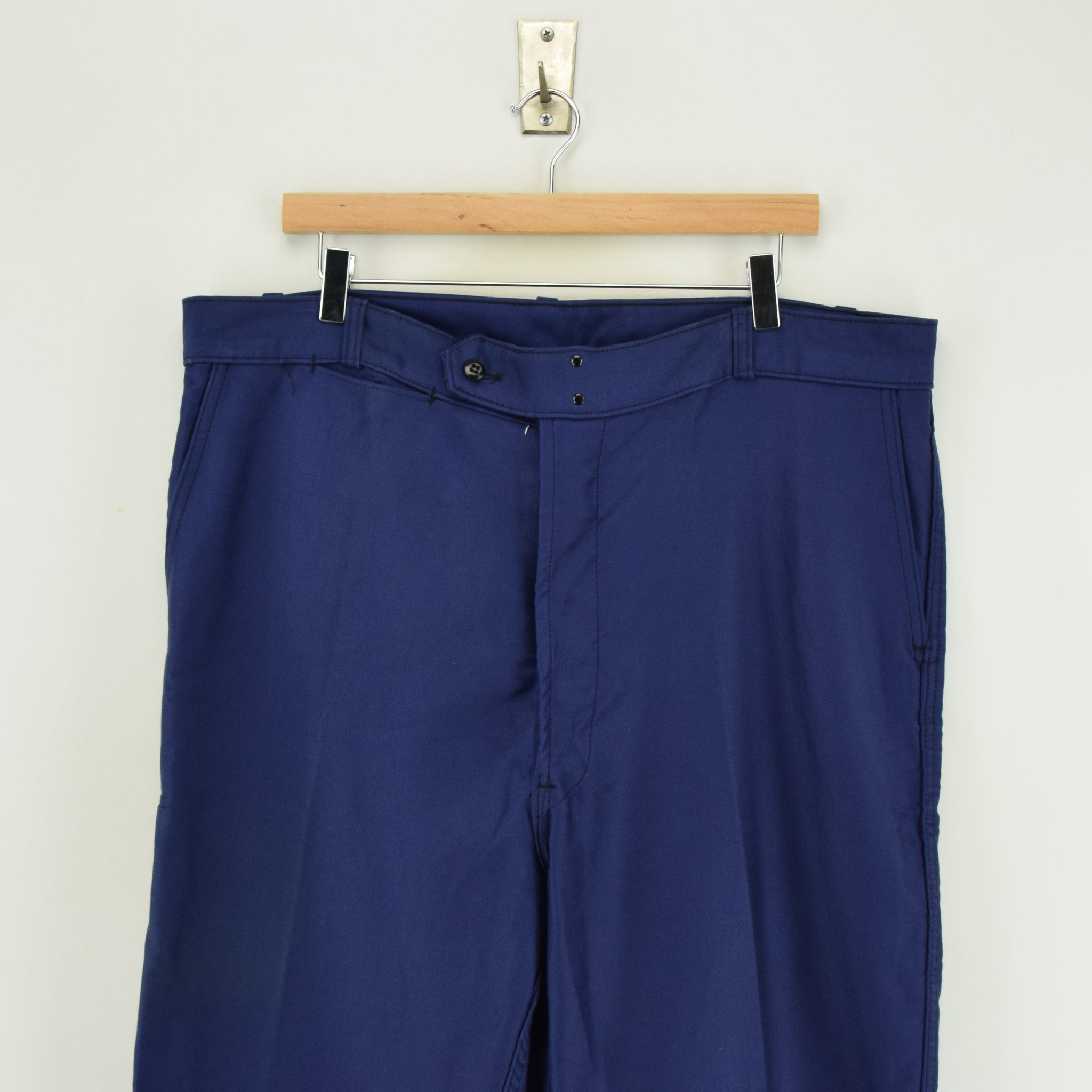 Vintage Adolphe Lafont Workwear Blue French Work Trousers 38 W 32 L front waist
