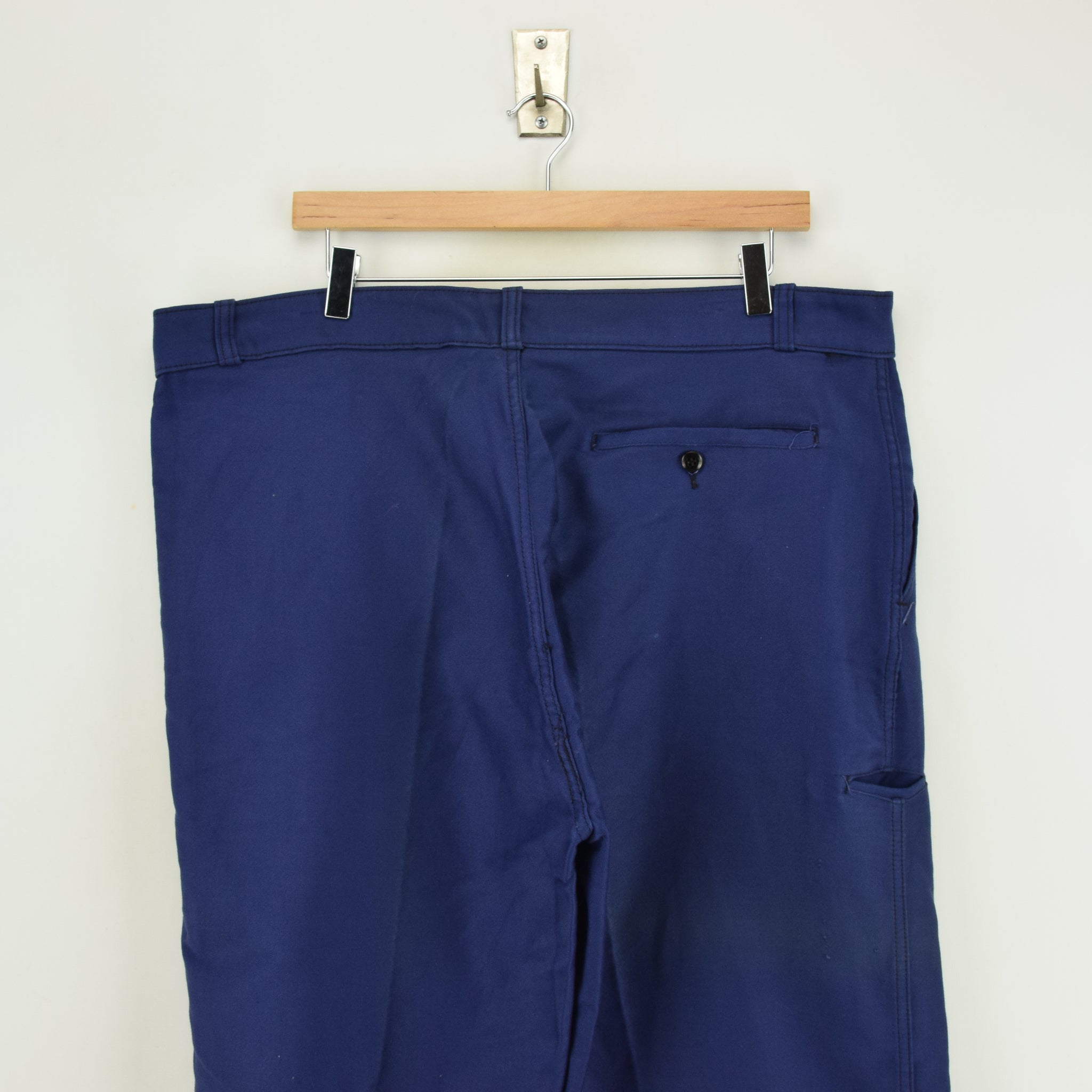Vintage Adolphe Lafont Workwear Blue French Work Trousers 38 W 32 L back waist