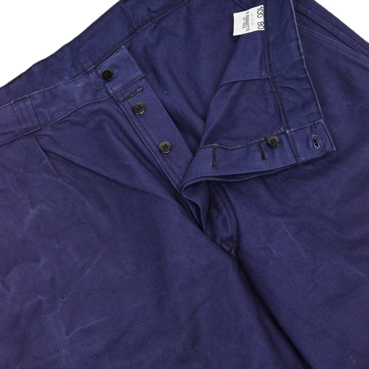 Vintage Indigo Blue French Work Pant Utility Trousers Made in France 38 W 30 L crotch