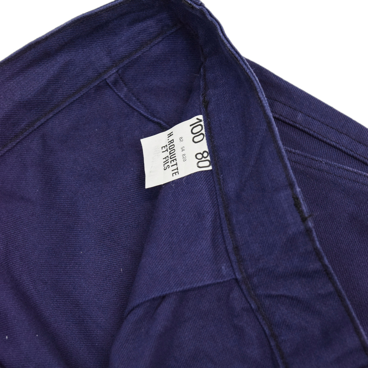 Vintage Indigo Blue French Work Pant Utility Trousers Made in France 38 W 30 L inner label