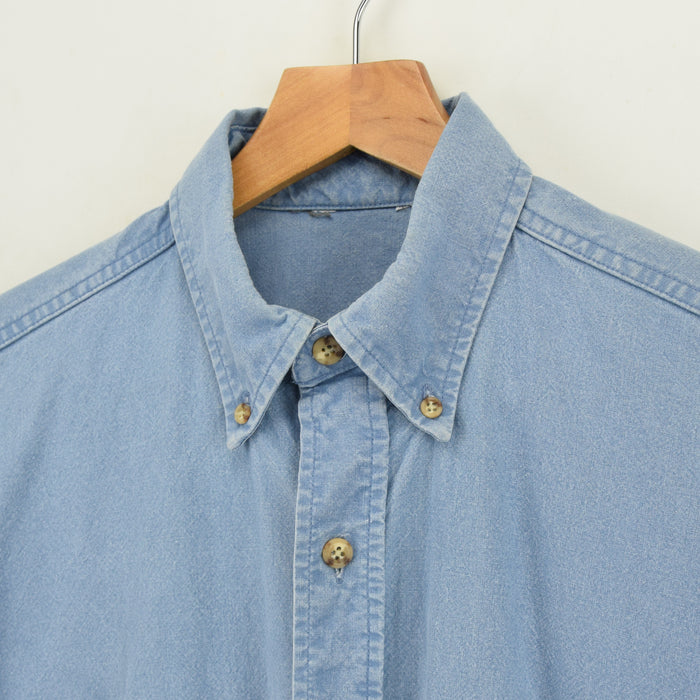 Vintage Carhartt Light Blue Cotton Short Sleeve Shirt Made in USA L chest
