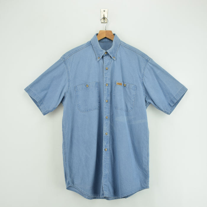 Vintage Carhartt Light Blue Cotton Short Sleeve Shirt Made in USA L front