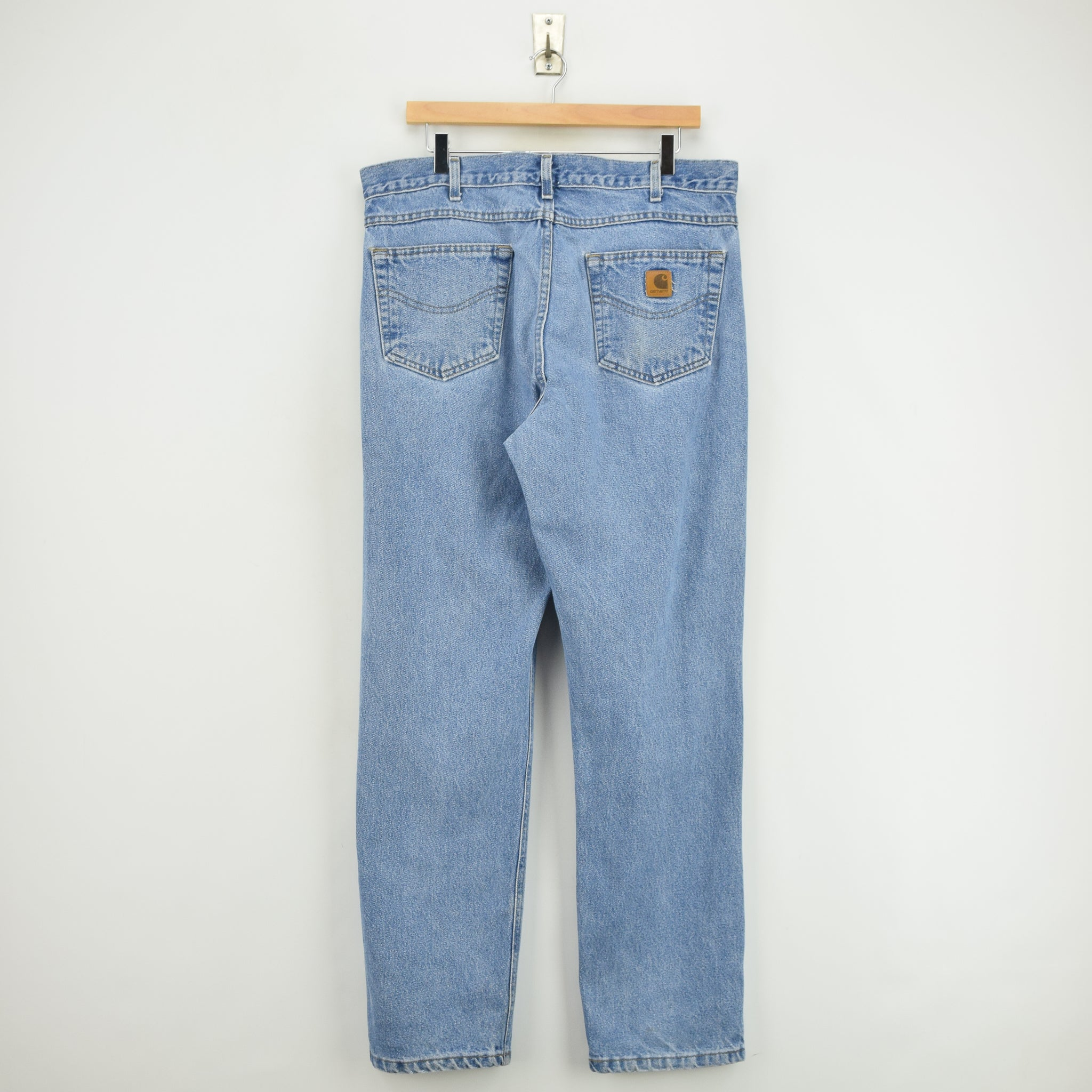 Vintage Carhartt Blue Denim Jeans Work Pants 34 W 32 L back