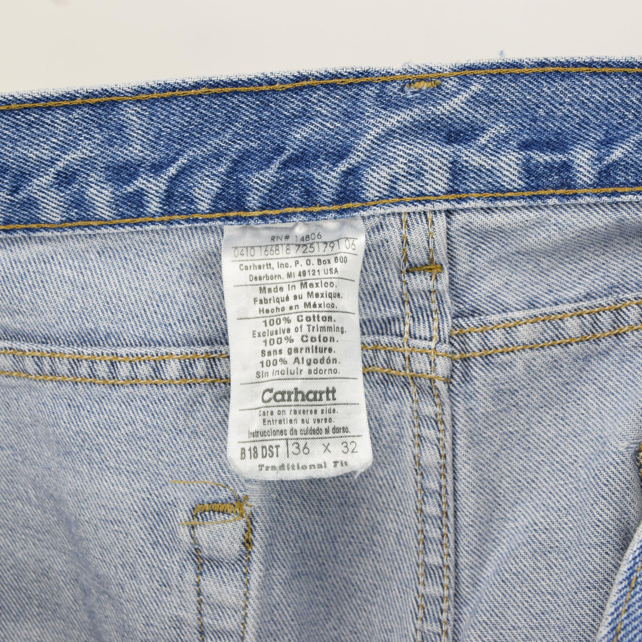 Vintage Carhartt Blue Denim Jeans Work Pants 34 W 32 L label