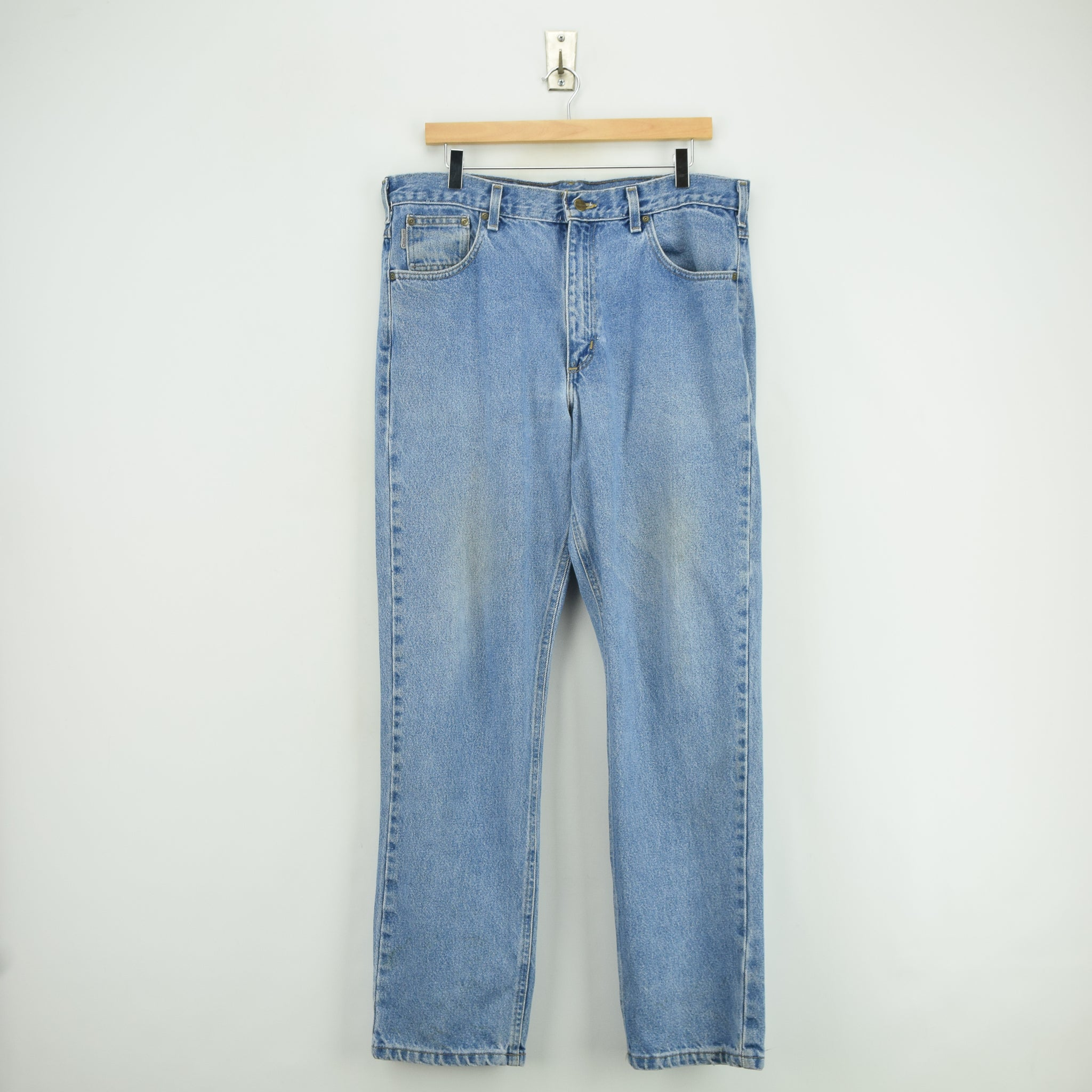 Vintage Carhartt Blue Denim Jeans Work Pants 34 W 32 L front