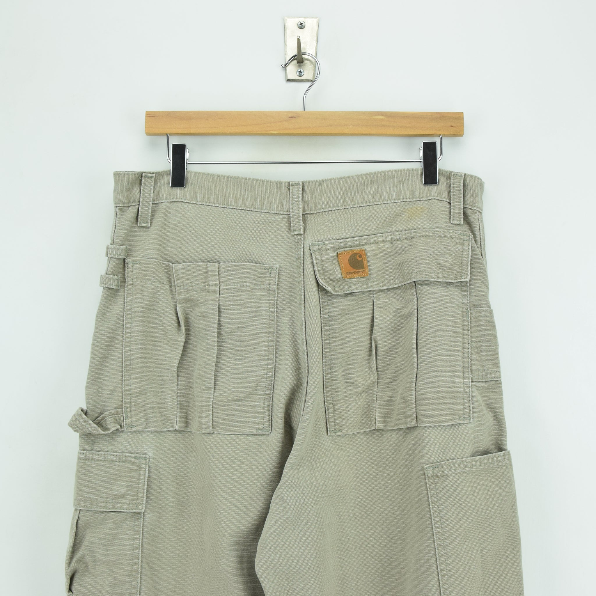 Vintage Carhartt Stone Duck Canvas Utility Work Cargo Pant 32 W 34 L back waist